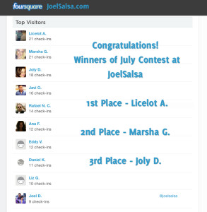 Foursquare Contest July Winners JoelSalsa