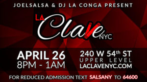 la clave nyc salsa social event April 26th