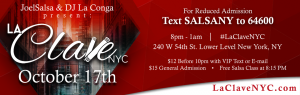La Clave NYC salsa soical event on 17th October 2019
